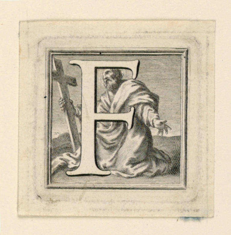 """A:  Letter """"E"""" before the prophet Elijah, to whom the raven brings bread.    B:  Letter """"F"""" before St. Philip (= Filipo) adoring a cross."""