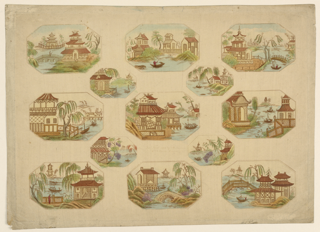 Horizontal rectangle. Thirteen vignettes of octagonal shape, showing Japanese landscapes. To be used either for decoupage or for motifs for painted tole-ware.
