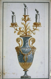 Urn-shaped of mottled blue stone with gilt bronze mounting. About base of urn, rayed laurel leaves; at sides: two vertical volute handles with a satyr mask at the point of junction with sides; three branches emerging from top, with foliate decoration supporting each foliate candle socket. Framing ink line and stripe.