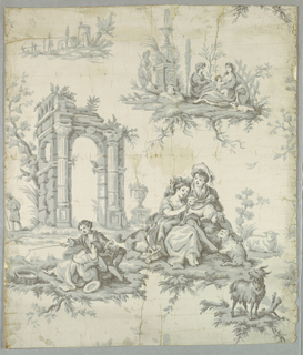 Pastoral scenes among classic ruins; gray portions printed to simulate linen texture. Beside girl and boy figures there are animals consisting of sheep and goats. Imported in U.S. and sold by John J. Morrow. Printed in grisaille.