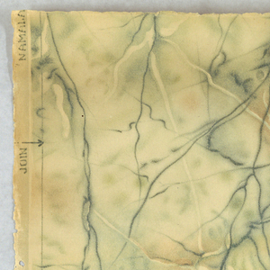 """Faux or imitation marble pattern: a) printed in shades of brown; b) printed in shades of blue-green. Printed by the """"Namalac Process""""."""