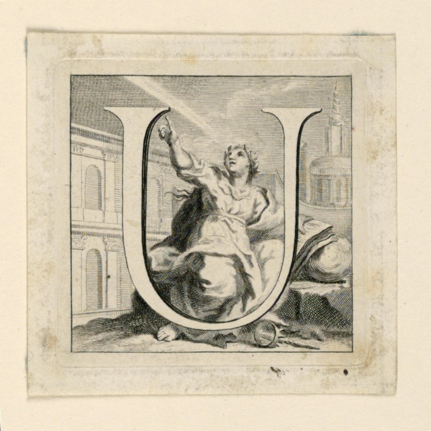 A: Letter S before Science, a seated woman who is investigating the sky.  A snake and a crown lie under her right foot.  The tower of the Sapienza, the Roman University, is in the right distance.   B: Letter U, before Urania, a woman similar to that in A.  The crest of the Sapienza serves as a background.