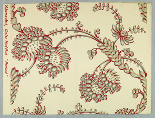 Unusual vining floral, printed in gray and burgundy on white ground.