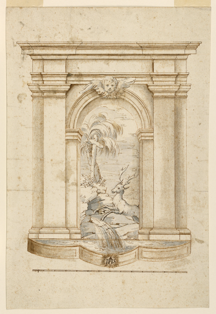 Within an arched niche, water flows into a lobed basin. At center, a scene of a stag and crucifix. At the base of the fountain, radiant letters below a cross: AHS