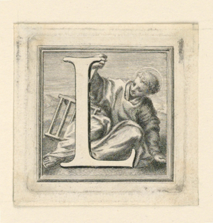 A:  Letter I before St. John, kneeling and pausing in his writing.  B:  Letter L, before St. Laurence, seated on the ground, holding the grill.