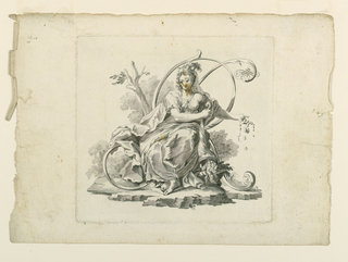 """Opulence"" (ricchezza). A woman is seated before the letter which is formed by scrolls and a flourish. She empties a cornucopia which contained jewels and money."