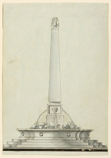 Truncated obelisk topped with a crowned double-headed eagle. Water flows from the mouth of a mask into a basin with rock work. A stepped base below.