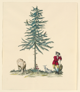 Vertical. Under central evergreen tree, a shepherd leaning on staff, a goat, and a cow. In tree, an owl and woodpecker. Blue-green, yellow, and mallow red.