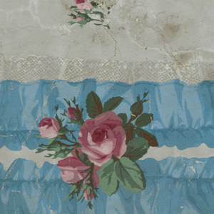On gray ground imitating moire silk, vertical bands of ruggled wide blue ribbon and lace with sprigs of roses and scattered rosebuds.