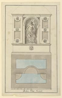 "A statue of Neptune stands in a niche which is flanked by narrow wall panels. The water pours from a dolphin. The plan underneath shows that the wall with the niche stands between two water basins, in front and in the rear. Underneath: the scale, ""Dodeci Palmi Romani""."