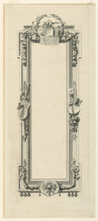 A rectangular frame decorated with trophies of love and music at top and either side. Further embellished with floweres and ribbons.