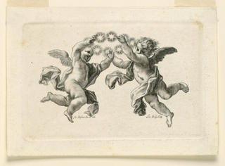 Three flying cupids support a wreath formed by stars.