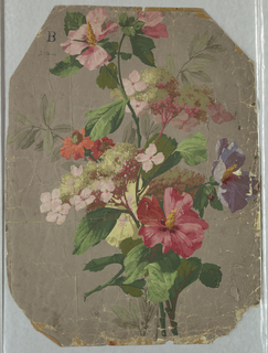 On gray ground, bouquet with hibiscus in shades of pink.