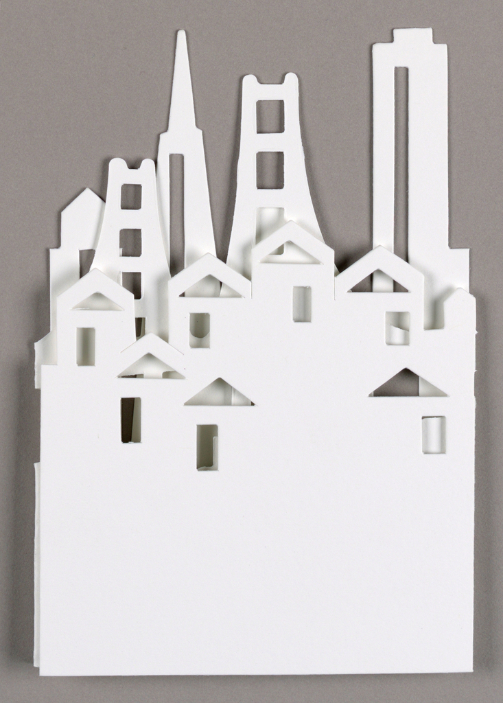 Cut-out of downtown San Francisco skyline.