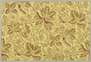 """All-over pattern of large maple-like leaf forms joined by foliate streamers. On reverse of each sheet, a facsimile of the Vicksburg newspaper, """"The Daily Citizen"""", of July 2, 1863."""
