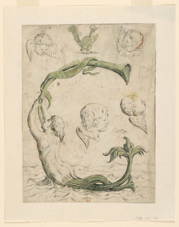 Central image of a mermaid blowing a horn forms a G. Additional drawings of four cherubim and a cork.