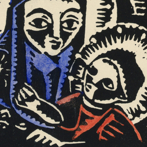 Horizontal rectangle. Madonna in blue robes with cross on head and star on shoulder, holding a child in a red robe. Both with light-emanating halos.