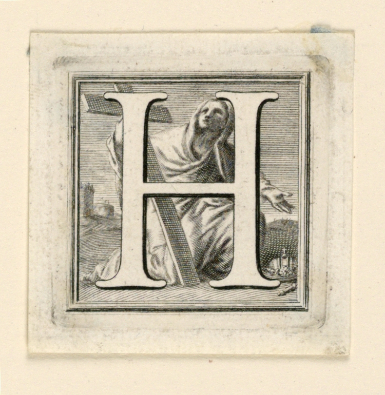 A:  Letter G before St. John (= Giovanni) who is seated and points at Christ, walking in the distance.  B: Letter H before St. Helen, kneeling with the Cross.
