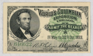 Bank Note, Ticket for World's Columbian Exposition, Chicago, 1893