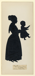 Full-length figure, facing right, of a woman holding in outstretched hands an infant, also facing right.