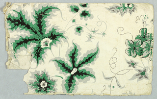 Flower and leaf pattern printed in strong green, gray and black on white ground.