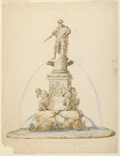 Figure of Doria stand atop a rostral plinth inscribed with his name. Water flows from the pros of two ships. The base is decorated with a coat-of-arms and surrounded by captives crouching upon a rock.