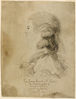 Shown in profile turned toward left. Verso: Forepart of the profile of the same woman.