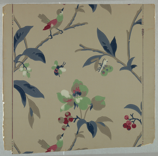 Random arrangement of flowering branches with insects and birds. Printed in blue, green, red and white on gray ground.