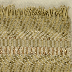 Stripes of various twill effects in off-white yarns of varying weights, with a small amount of copper Lurex.