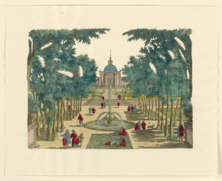 Horizontal formal garden with fountain and strolling figures; terrace with domed buliding in background. Blue-green, lemon, yellow, and deep mallow red.