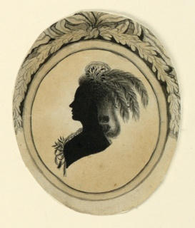 Portrait of a woman with a head dress of feathers facing left in a painted oval frame decorated with a garland and aknotted bow.