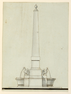 Below is a plinth. An obelisk rises from pedestal consisting of several parts. It is flanked by two crowned griffins shown in profile. Water pours into lateral basins. First, their moldings continued at the pedestal but were erased afterwards. On top is a sphere with a point.