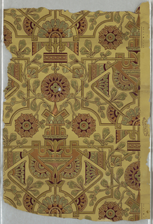 Anglo-Japanesque design with stylized floral motifs and vining foliage  intertwined with a geometric framework. Printed in metallic colors on tan ground.