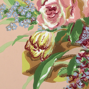 Large motif of flowers tied with bow, printed in pink, blue, brown, with green foliage, on light brown ground.