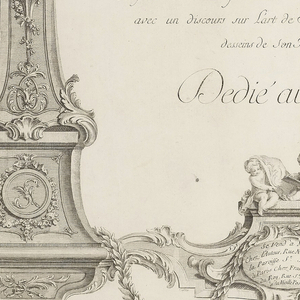 Title page consisting of an architectural frame with coat of arms of Stanislas Leszcynski on arch above and war trophies on the two vertical supports with title of volume in the center and dedication to the King of Poland and Duke of Lorraine.
