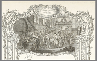 Elaborate rocaille frame willed with C-scrolls and interlace patterns with large upper central vignette and smaller scene in lower center of frame.  The upper scene shows the interior of the blacksmith's shop.  Lamour is presenting for Stanislas's inspection a pilaster being executed after the drawing on the table before them.  A huge archway that will span one of the fountains rests behind them.  The blacksmith wears the wig and attire of a gentleman, appropriate to his role as the entrepreneur, designer, and engineer who realized the ironwork decoration of the Nancy town square.  In the lower scene, three putti with wings play (one of them is forging a piece of ironwork) in a basement shop.