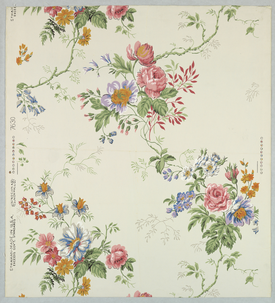 Design of serpentine stem with naturalistic flowers of many varieties and leaves. Printed in pink, blue, lavender, yellow, orange, gray, green and white on a white ground.