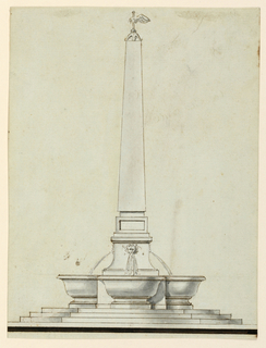 From a three octagonal steps, upon a high pedestal, rises an obelisk, crowned with eagle wings upon a spire. Water pours from gargoyle-like masks into four basins standing at the lowest part of the pedestal.
