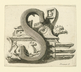 Print, Etching. Figural letter. Capital S.