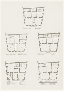 Architectural plan with alphabetical notations identifying rooms [in French].