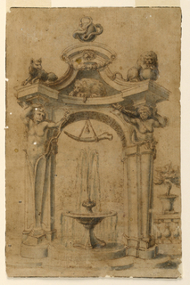 A fountain with two basins stands beneath an arch supported by Hercules terms. Sitting on the concave entablature is a wolf and two lions. At top, a snake encircles a sphere. A large bone is suspended from the center of the arch.