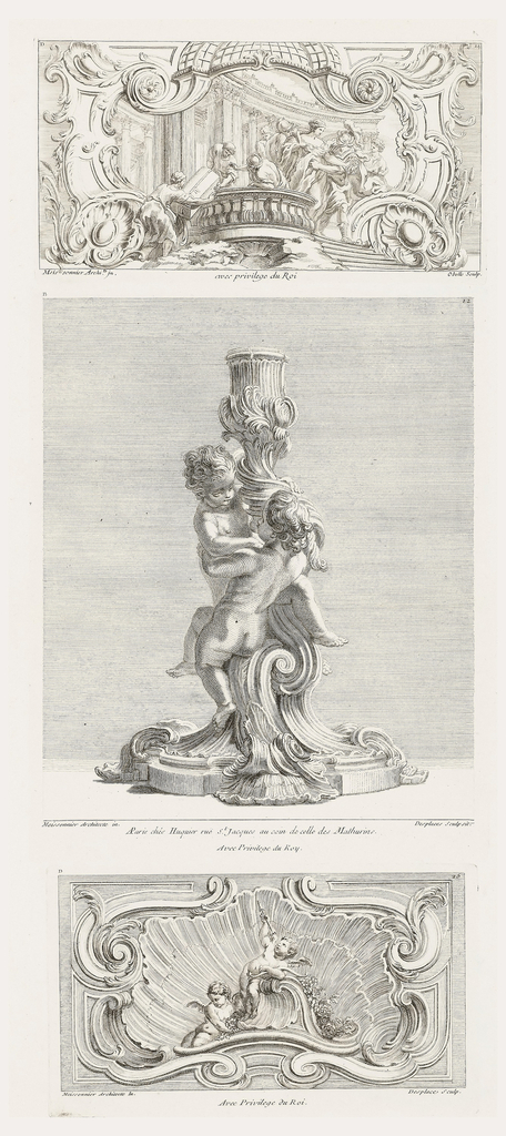 Two child figures, left 3/4 view, right rear view, holding onto candlestick. Modeled with shells, acanthus leaves, and volutes.