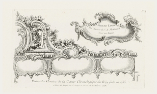 Elaborate ornamental design comprised of three separate cartouches, decorated with garlands of fruits and flowers. At upper right, cartouche containing inscription: SIXIEME LIVRE/Des Oeuvres de J.A. Messonnier/Gravé par Huquier.