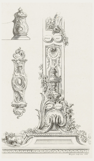 Only state. Plate showing three designs: upper left, end of scroll with acanthus leaf motif; lower left, backplate of key form decorated with swirling acanthus leaves; right, ornament with shell, urn, leaves, and fruit decoration on plinth. Within design on right, four ovals with numeric inscriptions: upper left, 3000; upper right, 100; lower left, 1110; lower right, 904.