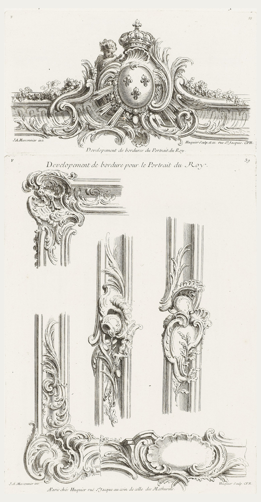 Only state. Asymmetrical border with center cartouche with the arms of the king, three fleurs de lis, a crown at the top, a putto at left. Border decorated with swirling leaves and garlands.