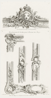 Only state. Sheet consisting of four elements of a border: two corners of border decorated with shell and swirling leaf motifs, a large, shell-shaped cartouche at the lower arm of the bottom corner design. Two linear elevations with central cartouches decorated with leaves, the left design showing a suspended chain and lid (?).