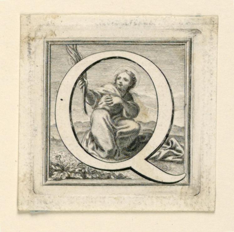 A: Letter Q before a kneeling female saint.  B: Letter R before the kneeling St. Roch.