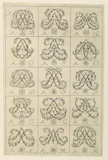 Vertical rectangle. Fifteen monograms in five rows. The letters are composed of leaf scrolls. They are letter A combination with other letters. It starts with B and ends with R.