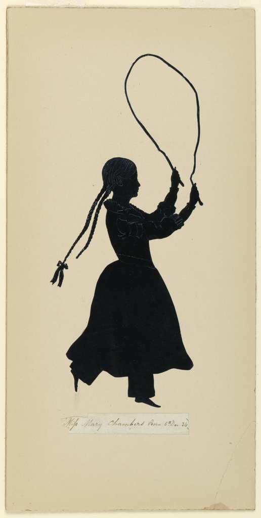 A figure of a young girl is shown with a jumping rope in her upraised hands. Facing right, she is presented in mid-skip with her two long braids bouncing behind her.