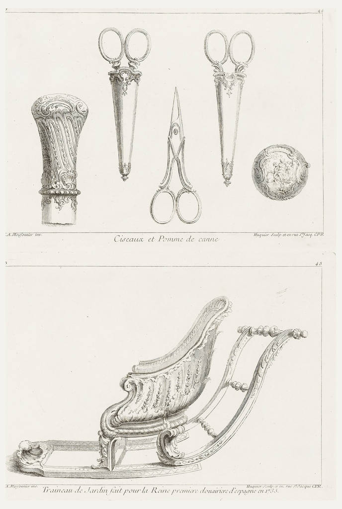 Consisting of five designs; three pairs of scissors, a cane knob, and a detail of the top of the cane knob. Two scissors are in their cases, which are decorated with delicate floral designs at top and bottom. The cane knob is decorated with bands of foliage and acanthus leaves. The top of the knob shows two female figures and two animals.